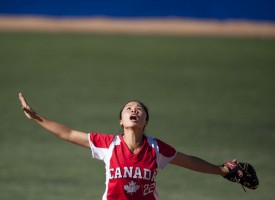 Oct. 22, 2011 - Guadalajara, Mexico - JENNIFER YEE of Canada calls for a catch during their softball semifinal game against Venezuela. Canada won the game 11 to 1 over Venezuela, and will face Cuba tomorrow to determine who will take bronze and who will play against the United States of America for the gold medal.