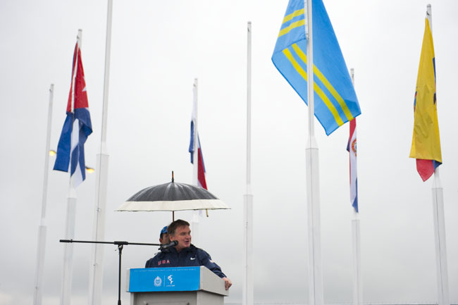 Alan Ashley, USOC, Speaks at the American flag raising ceremony at the Pan American Games