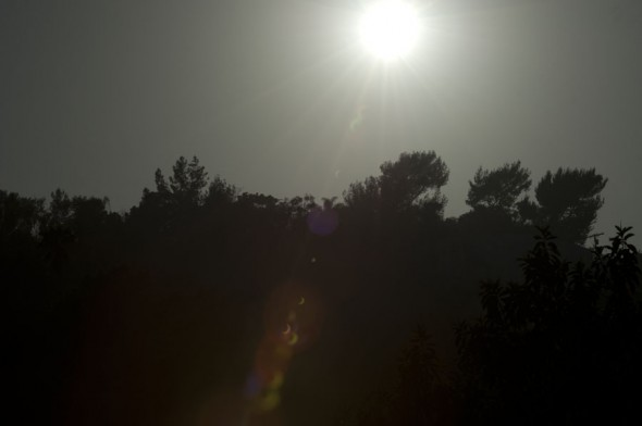 Solar Eclipse lens flare from Mount Washington - Los Angeles California