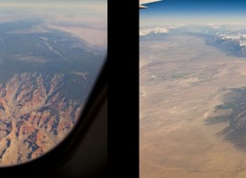 The Grand Canyon and the Rocky Mountains, as viewed from a jetliner.