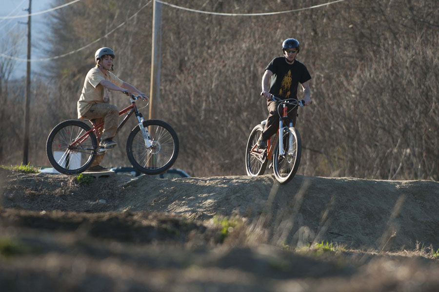 Kyle Corbeil and James Bordeaux get ready for a test ride on the intermediate course at the Waterbury Bike Park