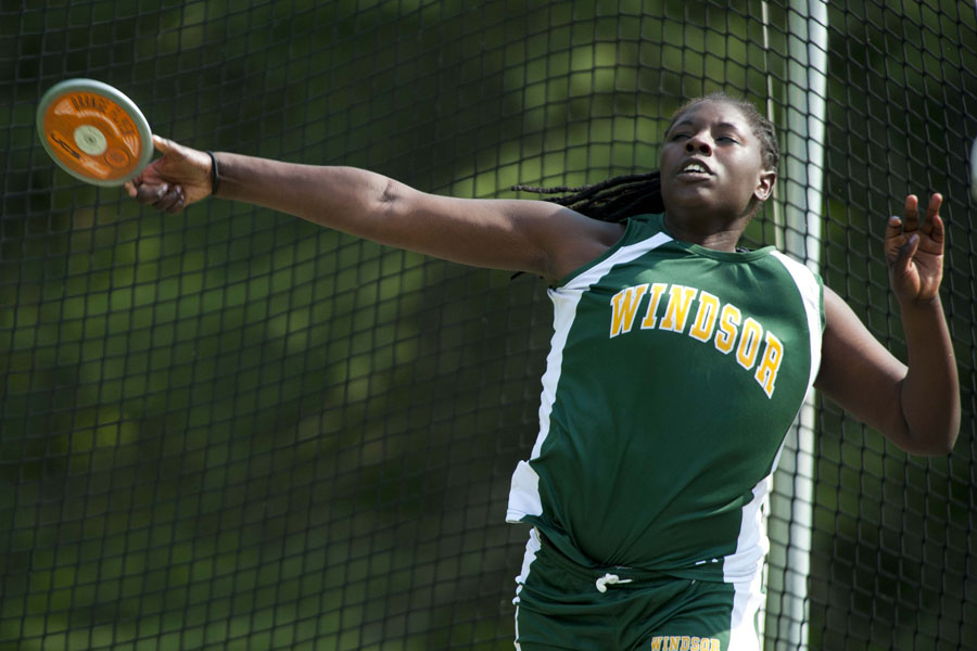 "Windsor High School sophmore Iyanna Williams throws the Discus 83' 11"" at U-32 High School in East Montpelier Vermont on Wednesday, May 21, 2013."