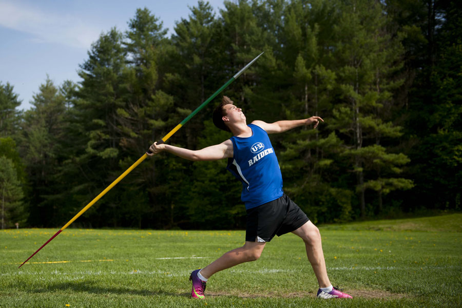 "U-32's Jacob Kellett throws the Javelin 102' 11"" at U-32 High School in East Montpelier Vermont on Wednesday, May 21, 2013."
