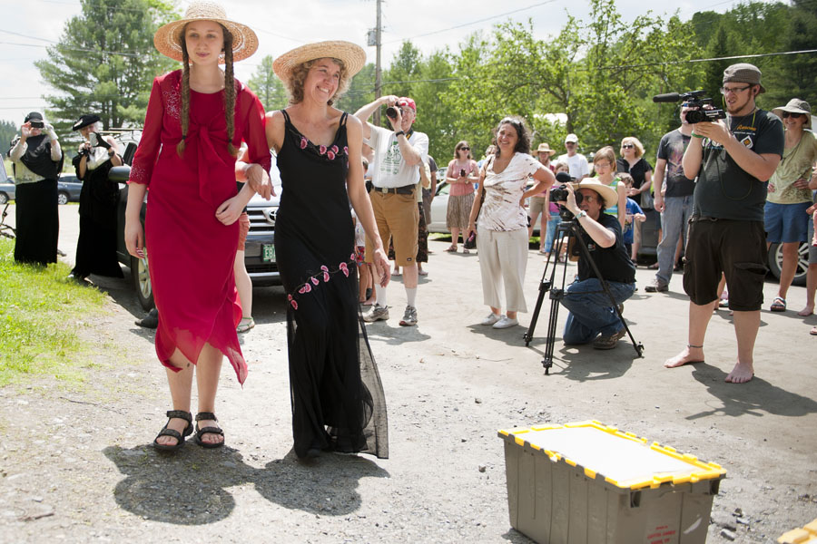 "Photo by Adam Caira Mother-daughter duo Julia ""I got Blood"" Barstow, Left, and Betsy ""Black fly"" Barstow, right participate in the fashion show at Adamant's 11th Annual Blackfly Festival in Adamant, Vt. on Saturday, June 1, 2013."
