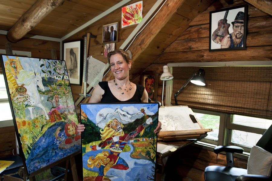 Photo by Adam Caira Kristina Applegate, founder of Kids Share, poses for a portrait in her home studio in East Montpelier along with two works of art she is preparing for a display at Lost Nation Theatre and a drawing-in-progress for her upcoming book release, on Sunday, June 2, 2013.