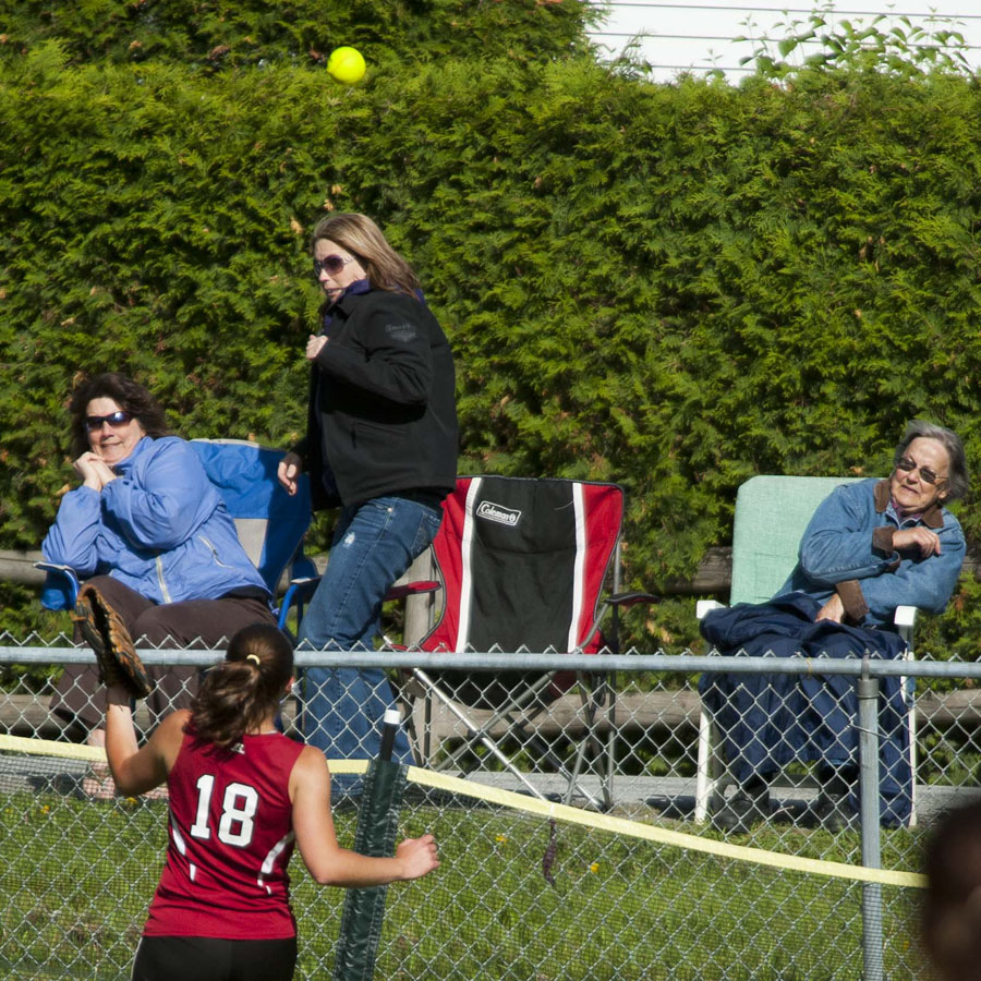 Photo by Adam Caira Spaulding's Stefanie Bullock chases a home run ball back to the fence during their game against St. Johnsbury Academy in Barre, Vt. on Tuesday, June 4, 2013.