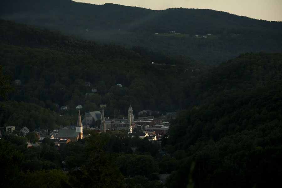 Downtown Montpelier is illuminated by the fading sunlight on Tuesday evening, Aug. 6, 2013.