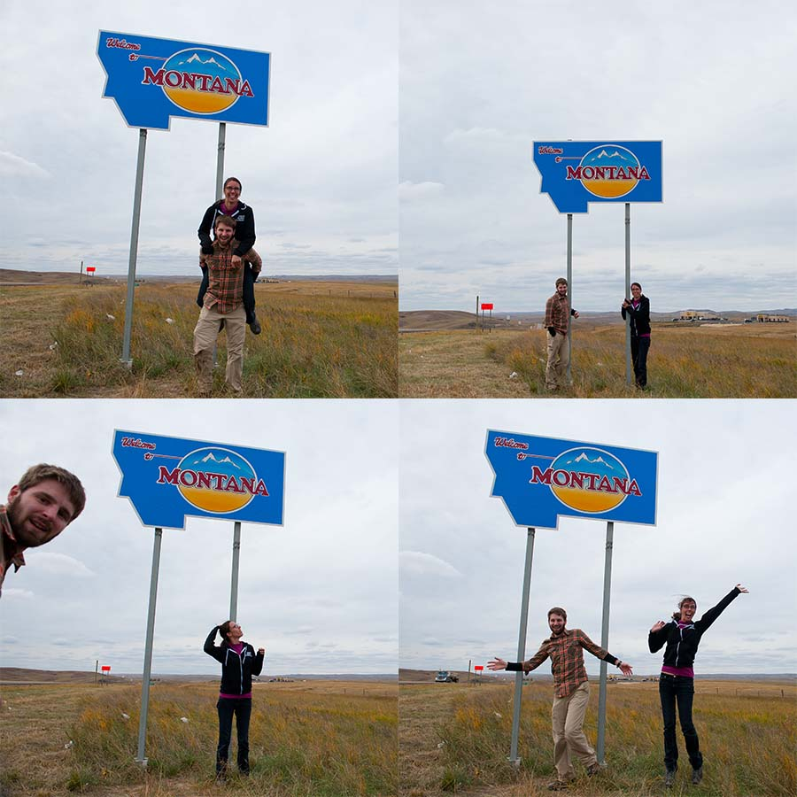 Meredith and I finally made it to Montana and posed by the tiny welcome sign at the eastern border of Montana on Rout-2