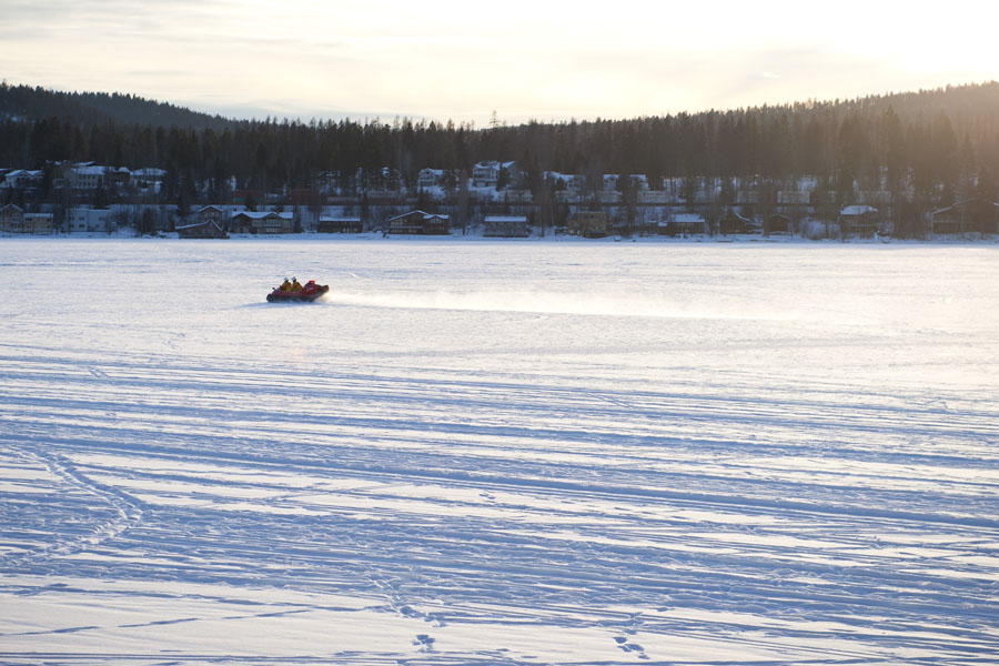 The Whitefish Fire Department uses their rescue hovercraft on a frozen whitefish lake Feb. 8, 2014