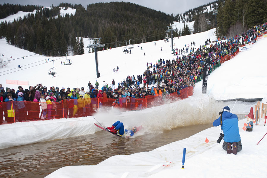 Pond Skimming to end the season at Whitefish Mountain Resort on Big Mountain, Apr. 5, 2014